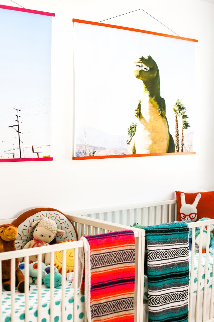 A Bright and Colorful Boy and Girl Twin Nursery, Nursery Colors for Boy Girl Twins, Twin Nursery Inspiration, Pictures, Crib Placement, Twin Nursery Layout, Gender Neutral Nursery, Twin Nursery Photos, How to Create a Great Twin Nursery, Twin Nursery Ideas, Boy Girl Twins Sharing Nursery, Salty Canary