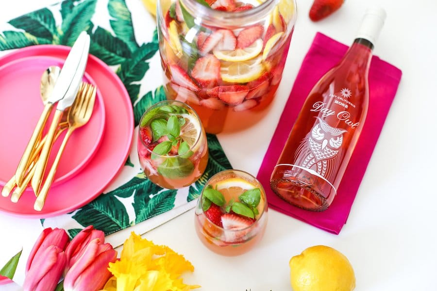 Strawberry Basil Lemonade Sangria // Salty Canary