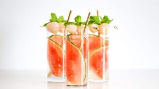 Sparkling Watermelon Lychee Cocktail // Salty Canary