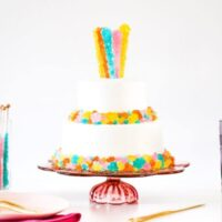 DIY Rainbow Rock Candy Grocery Store Bakery Cake Hack, Decorate a Store Bought Cake, Colorful Rock Candy, Rainbow Cake, Whipped Icing, Inexpensive Baby Shower Cake, Wedding Cake, Party Cake, Birthday Cake, Salty Canary