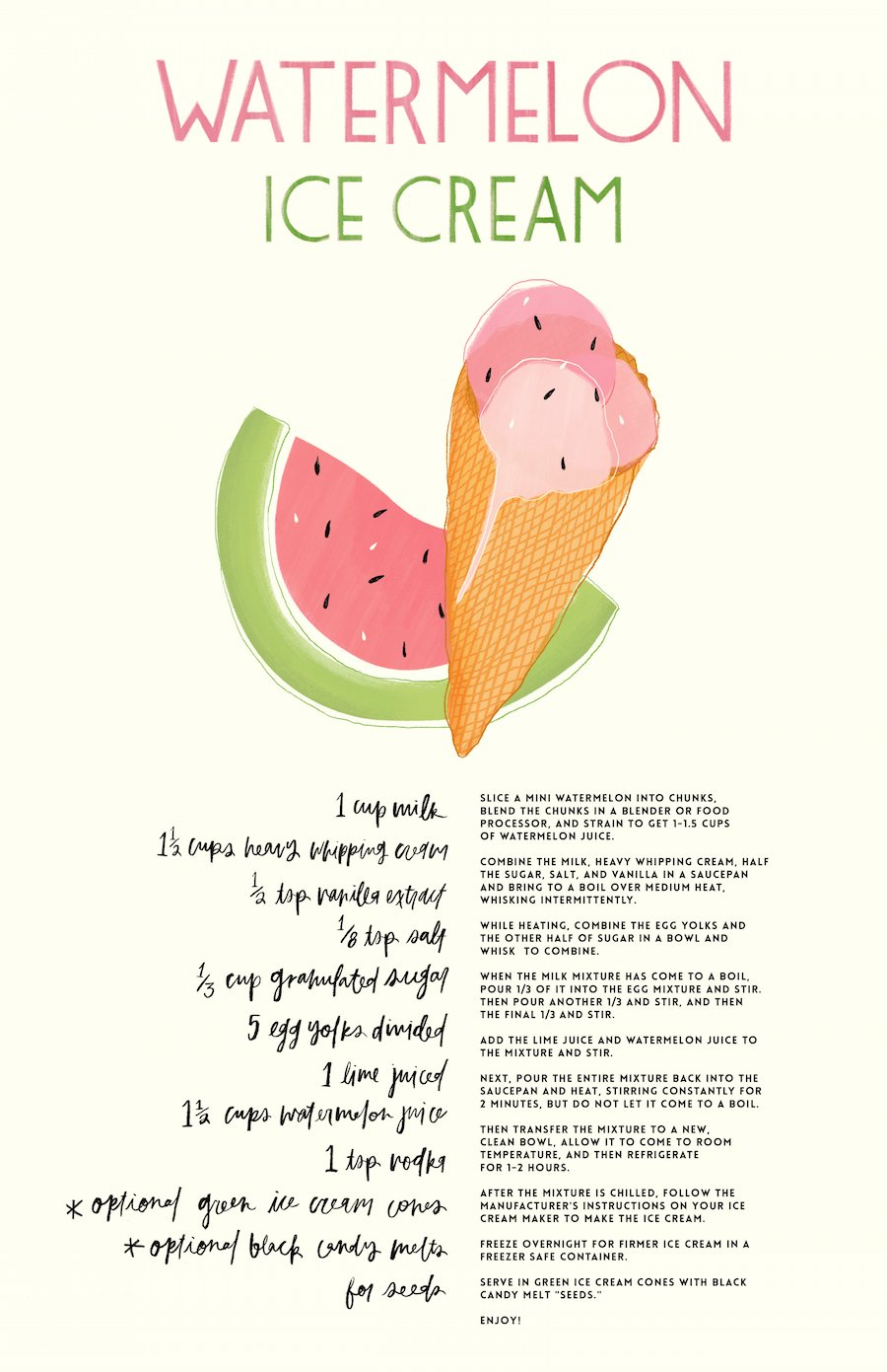 Free Print of Watermelon Ice Cream Recipe // Salty Canary