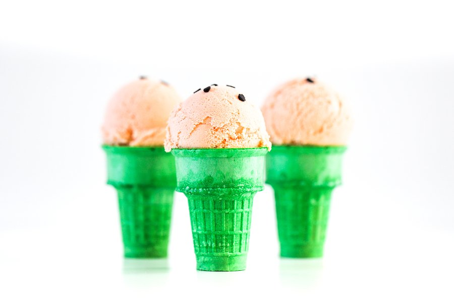 "Watermelon Ice Cream with Chocolate ""Seeds"" in Ice Cream Cones"