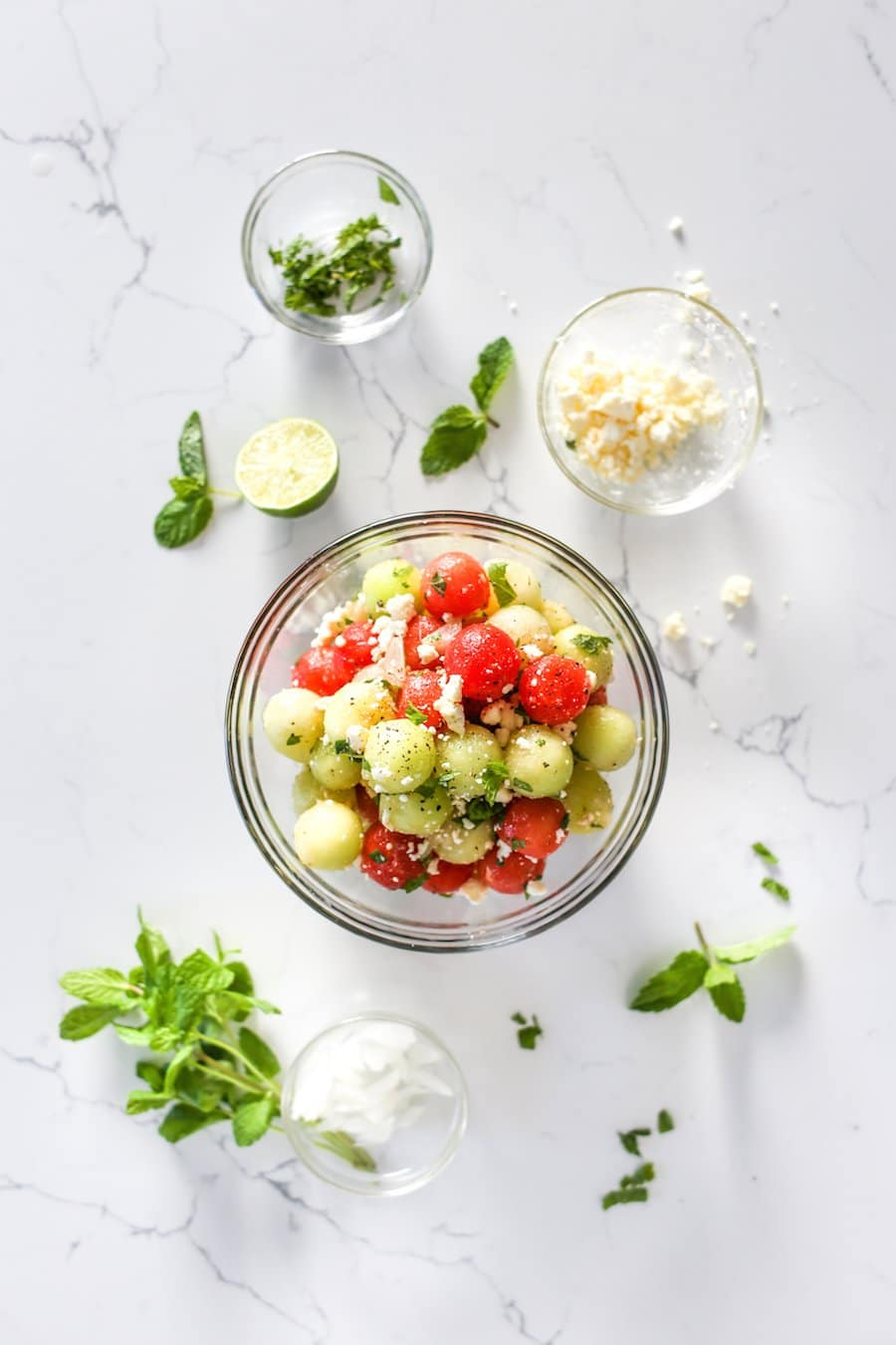 Mint and Melon Salad with Feta and Pickled Onions, Fruit Salad, Recipe, Mint and Melon Salad, Honeydew and Watermelon Salad, Watermelon and Mint Salad Recipe, Watermelon and Feta Recipe, Summer Salad, Melon Balls, Melon Ball Salad