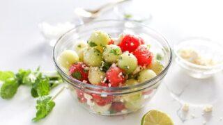 Mint and Melon Salad with Feta and Pickled Onions, Fruit Salad, Recipe, Mint and Melon Salad, Honeydew and Watermelon Salad, Watermelon and Mint Salad Recipe, Watermelon and Feta Recipe, Summer Salad, Melon Balls, Melon Ball Salad