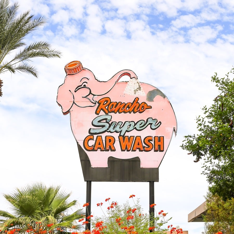 Vintage pink elephant neon carwash sign