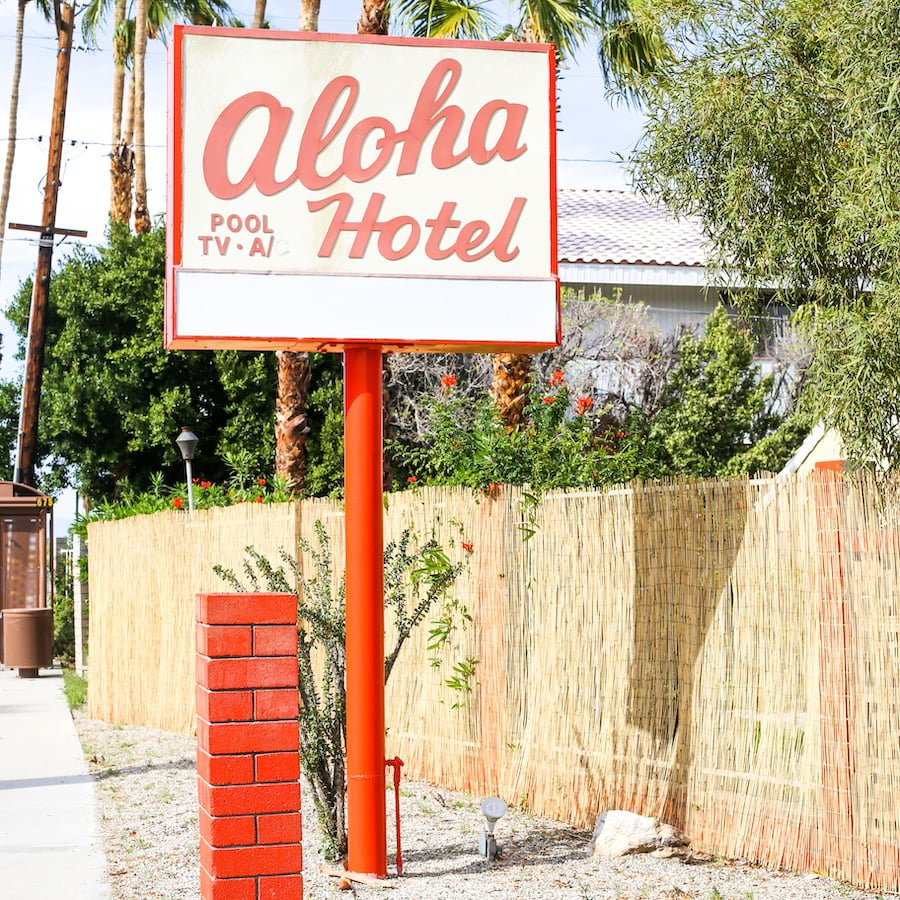 Aloha Hotel sign in Palm Springs, California