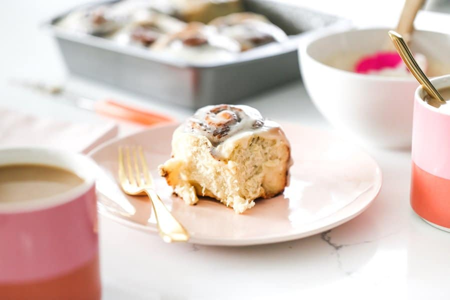Coffee Cinnamon Rolls with Coffee Creamer Cream Cheese Icing // Salty Canary