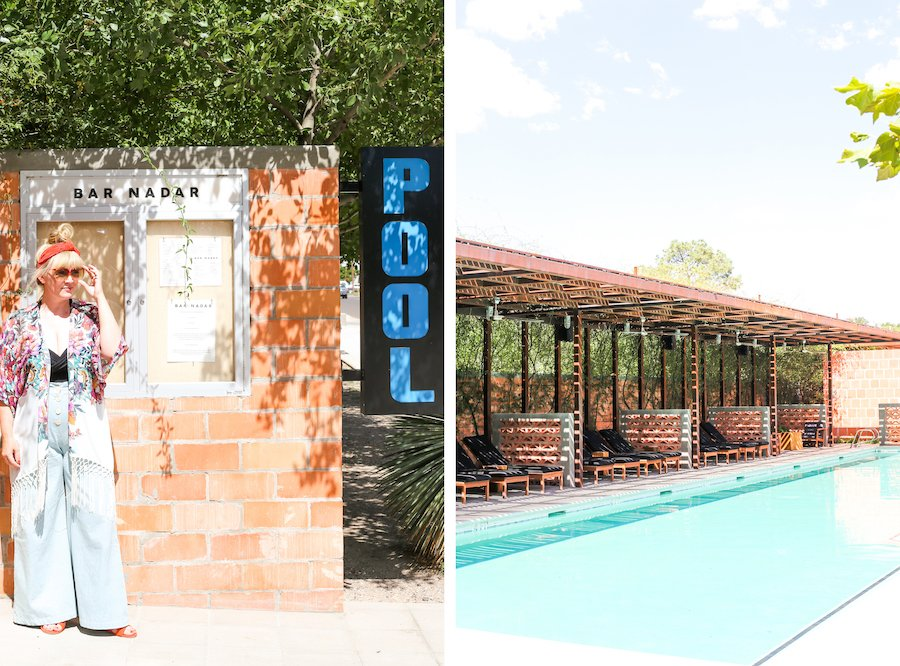 Split photo of woman standing next to Bar Nadar and pool sign and the pool area at the Saint George