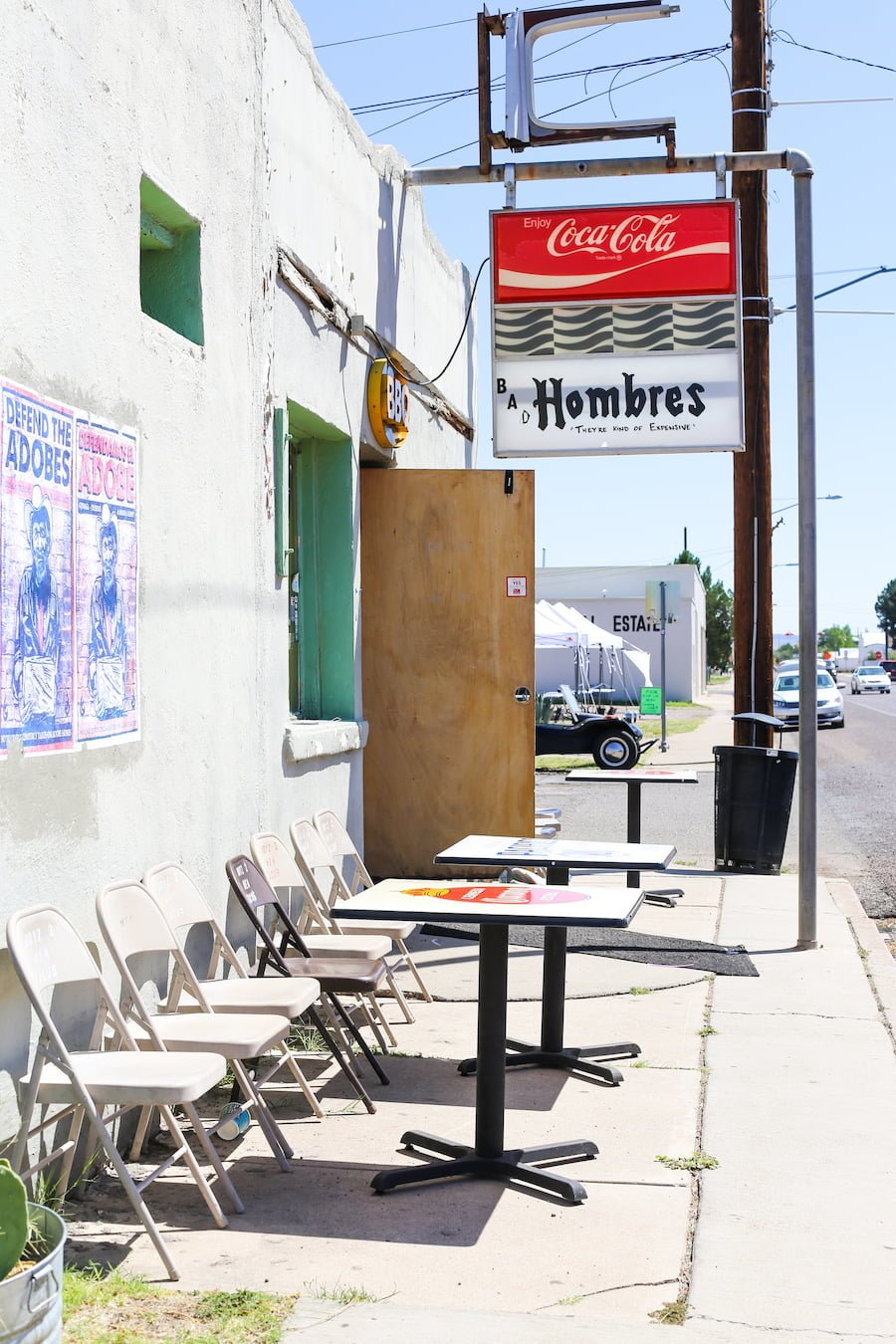 Exterior of Boyz II Men restaurant in Marfa, Texas