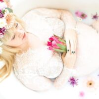 Floral Milk Bath Maternity Photoshoot