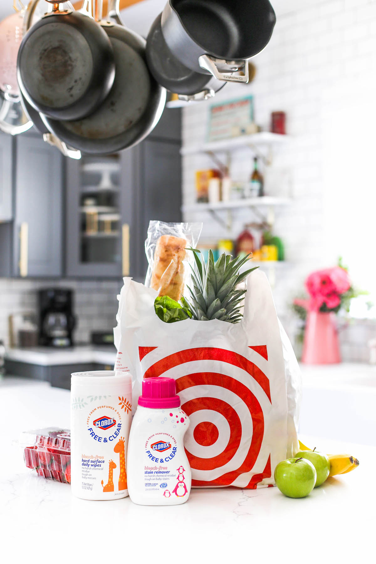 Bag of groceries on kitchen counter