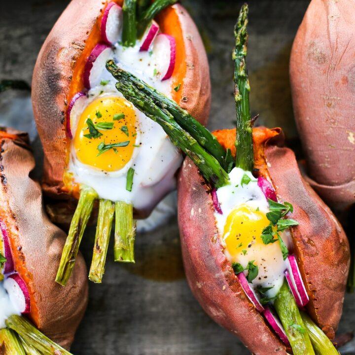 Baked Egg & Asparagus Sweet Potato Recipe